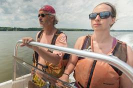 steve jones in boat with student