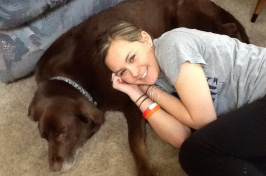 UNH student Allison Onofrio and her dog, Hershey