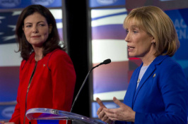Maggie Hassan (r.) the governor of New Hampshire and Democratic candidate for US Senate, debates incumbent Sen. Kelly Ayotte (R) on Nov. 2 in Manchester, N.H. The race is among the toss-ups pollsters are watching to see if Democrats will seize control of the Senate. (credit: Jim Cole/AP)