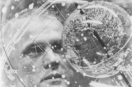 """In February 1962, Astronaut John H. Glenn Jr. looks into a globe, technically the """"Celestial Training Device"""" at the Aeromedical Laboratory at Cape Canaveral, Florida."""