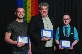 Ike Leslie, John Berst and Casey O'Dea pose for a photo at the LGBTQ+Ally Pancake Breakfast
