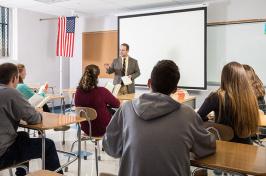 Laconia High School English teacher and UNH alumnus Tate Aldrich '08 in the classroom