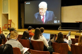 Students at the University of New Hampshire learned about relations with China from Henry Kissinger on Tuesday night. (KIMBERLEY HAAS/Union Leader Correspondent)