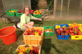 UNH's Becky Sideman with peppers