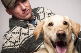 Author Benoit Denizet-Lewis, who spoke recently at UNH, with his Labrador-Golden Retriever mix, Casey