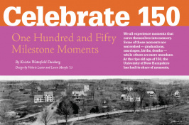 Celebrate 150: One Hundred and Fifty Milestone Moments feature cover page from the UNH Magazine