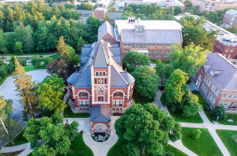 an aerial of Thompson Hall at UNH