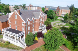 an aerial view of Smith Hall and Paul College at UNH
