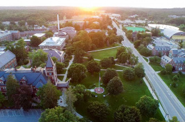aerial of UNH campus at sunset