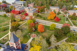 aerial view of UNH's Durham campus and Thompson Hall
