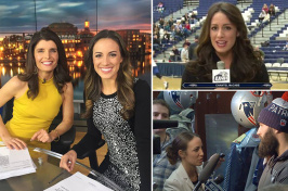 Photos of UNH alumna Chantel McCabe at work as a news anchor and reporter