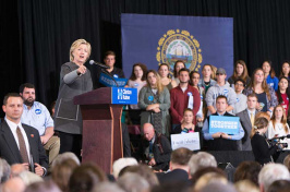 Hillary Clinton speaking in the UNH Field House to students and members of the UNH/Durham community