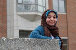 UNH student Yussra Ebrahim outside Rudman on campus