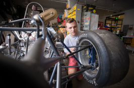 UNH Formula One SAE car and student