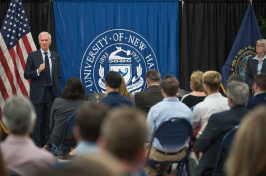 UNH President Mark Huddleston speaking at an open forum