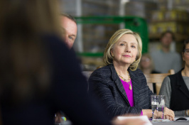 Hillary Clinton in a meeting