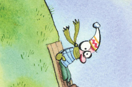 illustration of a person trying to sled down a grassy hill by Hal Mayforth