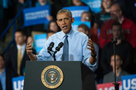 President Obama speaking at UNH Whittemore Center