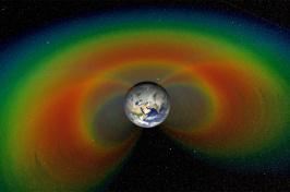 Colorful image of Van Allen radiation belts around Earth
