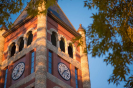The clock tower at UNH's Thompson Hall