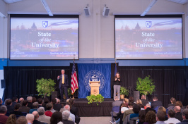 UNH President Mark Huddleston delivering the State of the University address