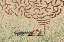 plowing man illustration