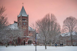 UNH Thompson Hall in winter at sunset