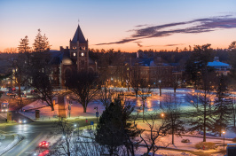 UNH campus, with Thompson Hall, at sunset, January 2016