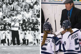 UNH football coach Bill Bowes and UNH women's ice hockey coach Bill Bowes
