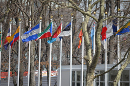A view of flags outside the UN