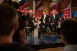 "Chris Matthews of ""Hardball"" talks with Libertarian presidential candidate Gary Johnson, and his running mate, Bill Weld, at UNH's Huddleston Ballroom"