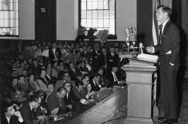 John F. Kennedy speaking in New Hampshire Hall