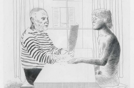 Artist and Model etching by David Hockney