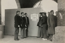 voting booth under the Thompson Hall arches at UNH