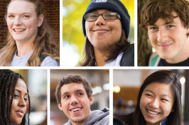 a collage of UNH students