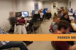 students working in UNH's Parker Media Lab