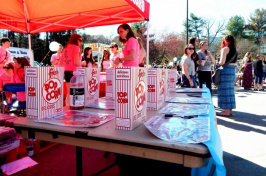 popcorn bags at a UNH Campus Activities Board booth