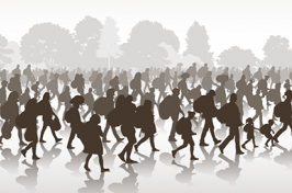 an illustrated representation of people migrating