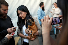 A happy hour event in San Francisco in 2014 for some social media stars. Lindsey Louie with her dog Biggie Griffon. Credit Preston Gannaway for The New York Times