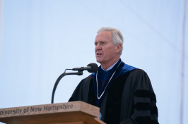 UNH President Mark Huddleston speaking at Commencement 2017