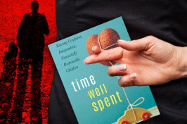 Time Well Spent book cover, a hand with fingers crosses and a menacing shadowy figure
