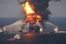 Fire boat crews battle the fire on the off shore oil rig Deepwater Horizon in 2010.