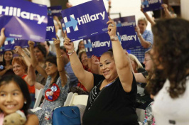 Hillary Clinton supporters holding signs at a DNC watch party in San Antonio, Photo: Eric Gay /Associated Press