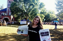 UNH student Allison Bellucci in front of Thompson Hall