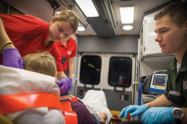 UNH students working for the McGregor Memorial Emergency Medical Service