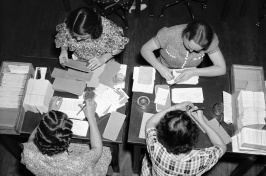 In this historic photo from the Library of Congress, workers in the Social Security Board Records Office check for any errors in their files.