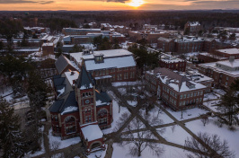 UNH campus at sunset after first snowfall of fall 2017 semester