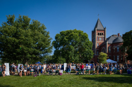 University of New Hampshire Thompson Hall lawn with students