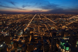 the Chicago skyline at night (Getty)