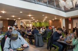 Students eating in one of UNH's dining halls